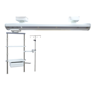 Icu ceiling mounted bridge hospital double arm pendant